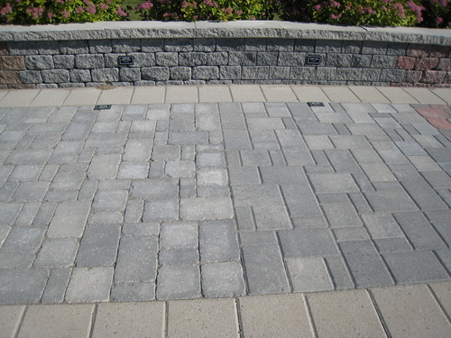 We checked a few landscaping places near us but ended up at Brooklin Concrete. We bought standard (untumbled) grey random rectangle pavers. & New house